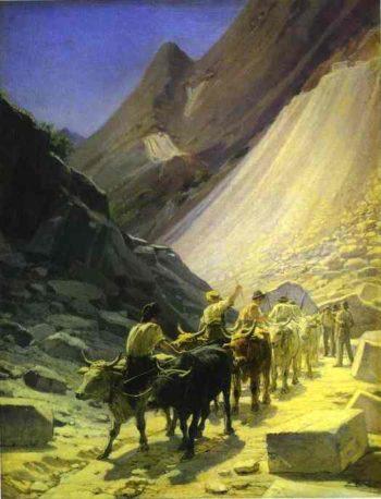 the transportation of marble at carrara 1868 | Nikolay Gay | oil painting