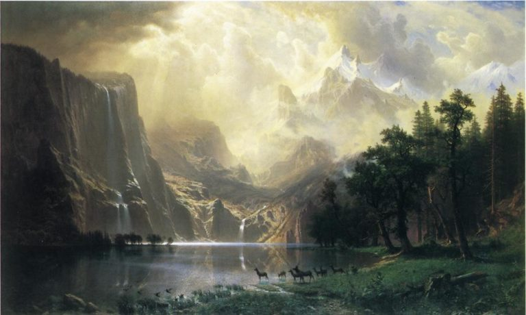 Among the Siera Navada Mountains California | Albert Bierstadt | oil painting