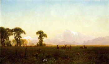Deer Grazing Grand Tetons Wyoming | Albert Bierstadt | oil painting