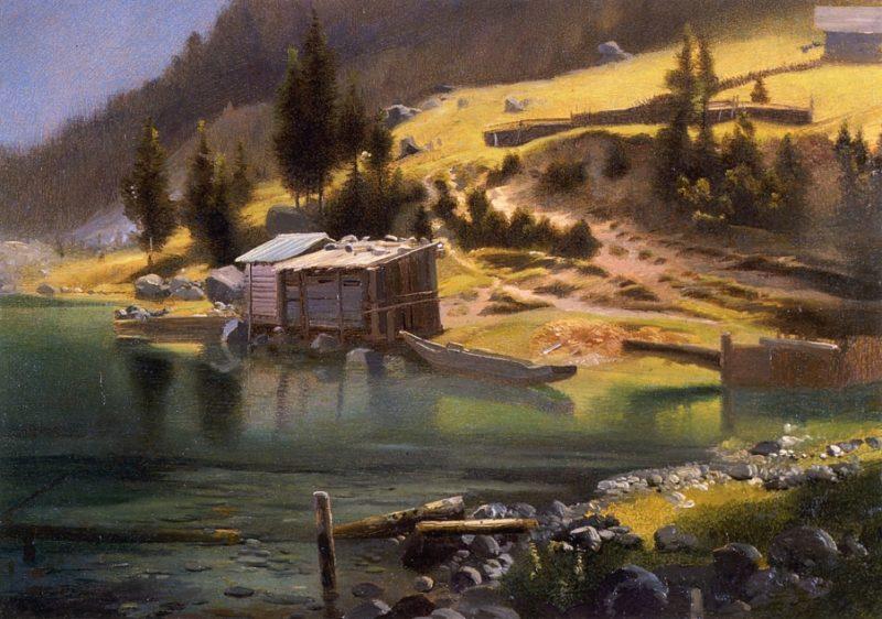 Fishing and Hunting Camp Loring Alaska   Albert Bierstadt   oil painting