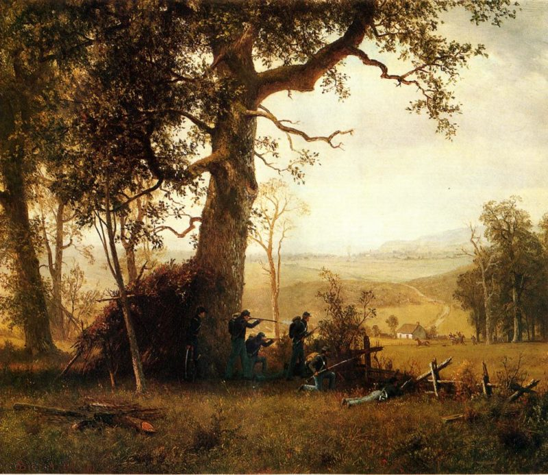 Guerilla Warfare   Albert Bierstadt   oil painting