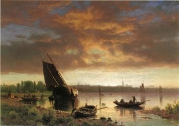 Harbor Scene | Albert Bierstadt | oil painting