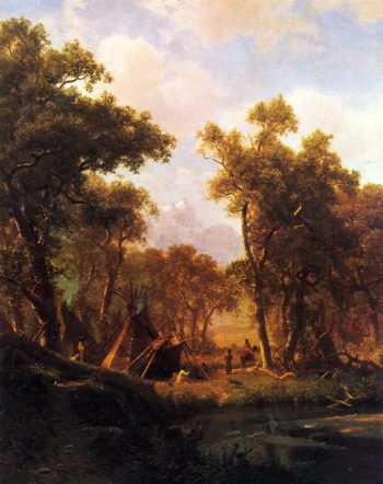 Indian Encampment Shoshone Village | Albert Bierstadt | oil painting