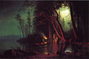 Lake Tahoe Spearing Fish by Torchlight | Albert Bierstadt | oil painting