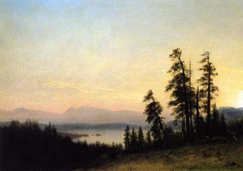 Landscape with Deer View of Estes Park Colorado   Albert Bierstadt   oil painting