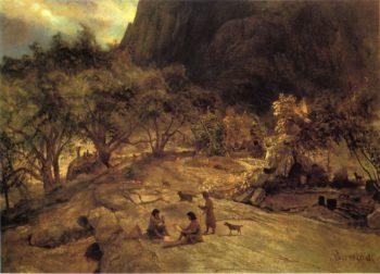 Mariposa Indian Encampment Yosemite Valley California   Albert Bierstadt   oil painting