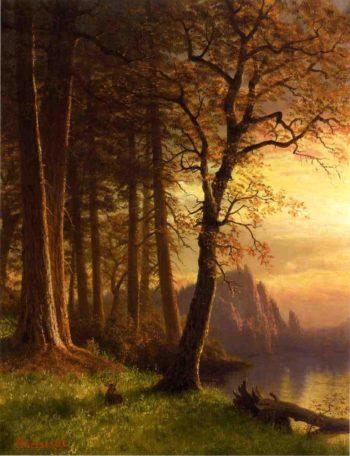Sunset in California Yosemite | Albert Bierstadt | oil painting
