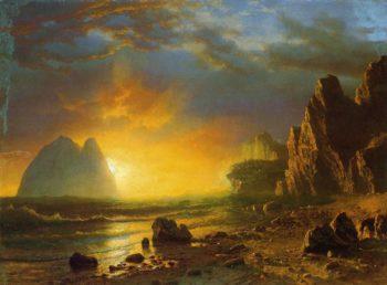 Sunset on the Coast | Albert Bierstadt | oil painting