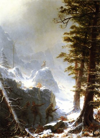 Three Hunters Stalking a Big Horn Sheep in a Snow Squall | Albert Bierstadt | oil painting