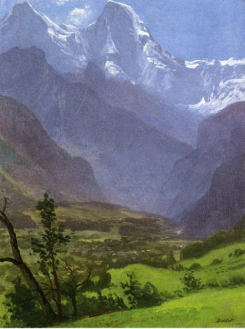 Twin Peaks Rockies | Albert Bierstadt | oil painting
