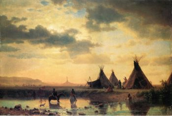 View of Chimney Rock Ogalillalh Sioux Village in Foreground | Albert Bierstadt | oil painting