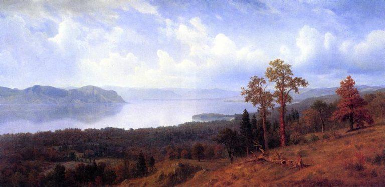View of the Hudson Looking Across the Tappan Zee Towards Hook Mountain | Albert Bierstadt | oil painting
