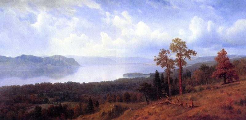 View of the Hudson Looking Across the Tappan Zee Towards Hook Mountain | Albert Bierstadt | oil painting