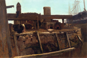 Wharf Scene with Ship at Dock | Albert Bierstadt | oil painting
