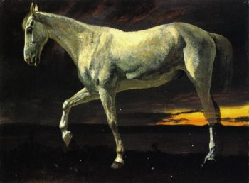 White Horse and Sunset | Albert Bierstadt | oil painting