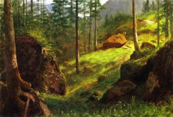 Wooded Hillside | Albert Bierstadt | oil painting