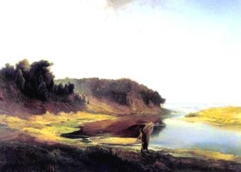 Landscape with a River and an Angler | Alexei Kondratevich Savrasov | oil painting