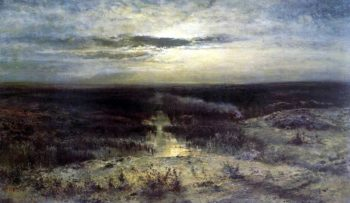 Moonlit night Marsh | Alexei Kondratevich Savrasov | oil painting