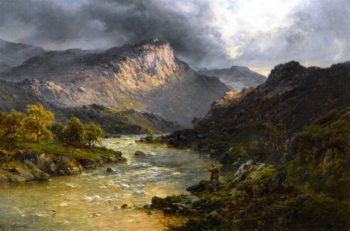 A Salmon Trout Stream Cader Idris North Wales | Alfred de Breanski Sr | oil painting