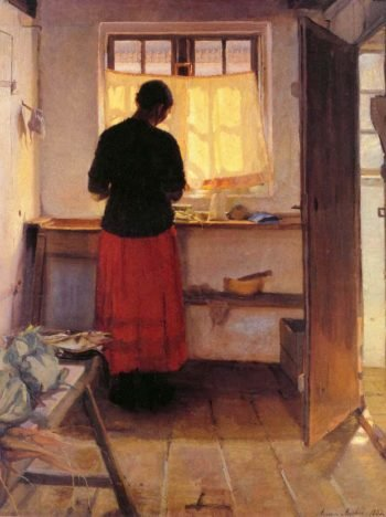 Girl in Kitchen | Anna Ancher | oil painting
