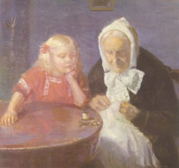 Keeping Grandma Company | Anna Ancher | oil painting