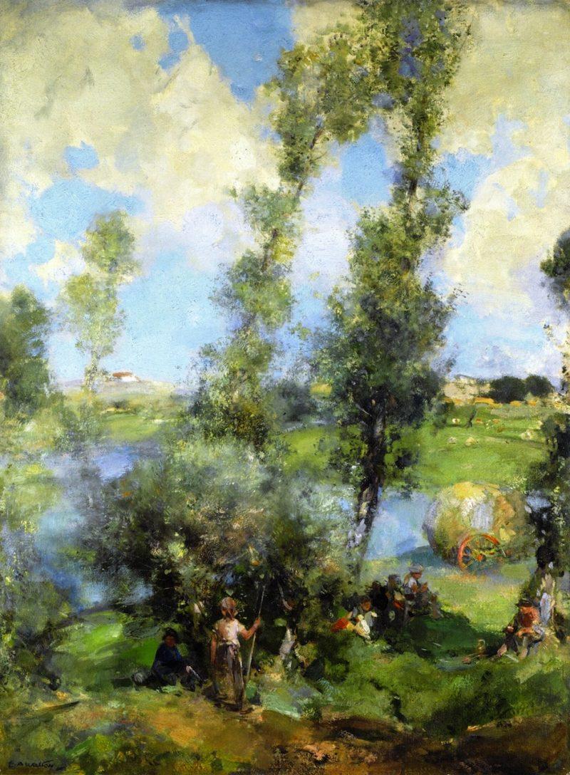 Haymaking a Moments Respite | Edward Arthur Walton | oil painting