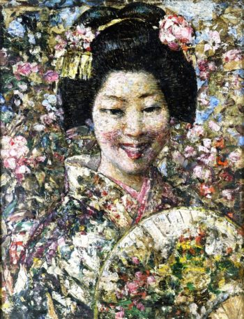 A Smiling Geisha | Edward Atkinson Hornel | oil painting