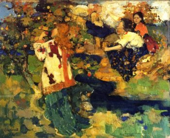The Book | Edward Atkinson Hornel | oil painting