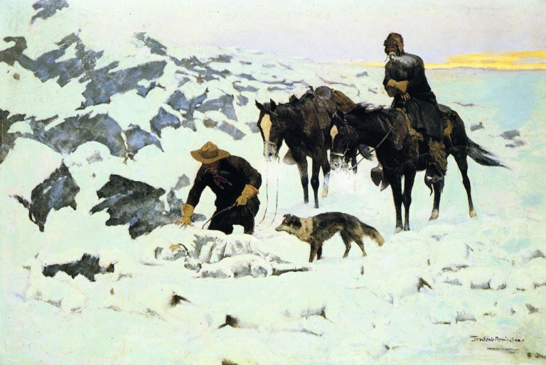 The Frozen Sheepherder | Frederic Remington | oil painting
