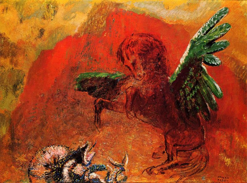 Pegasus and the Hydra | Odilon Redon | oil painting