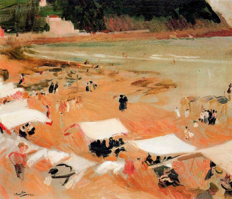 Beach at Biarritz | Joaquin Sorolla y Bastida | oil painting