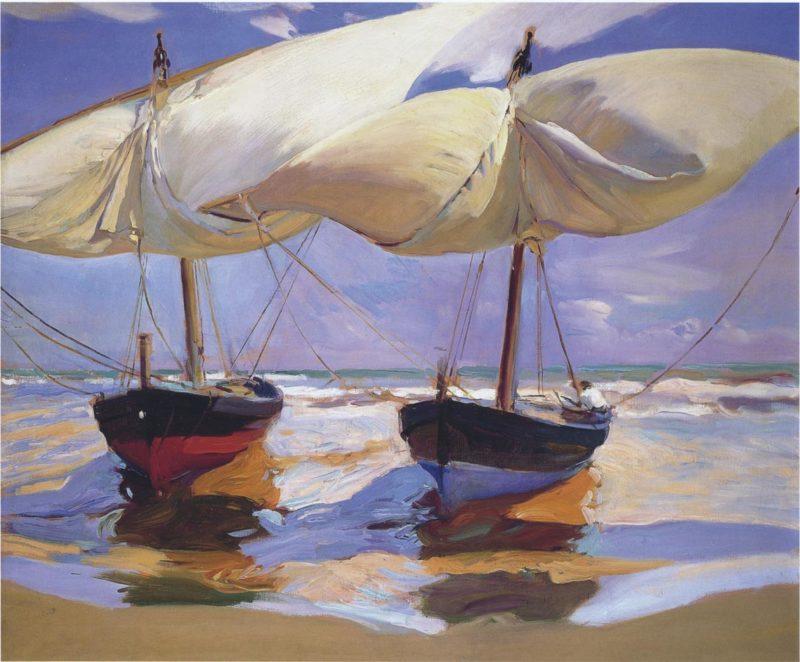 Beached Boats Valencia | Joaquin Sorolla y Bastida | oil painting