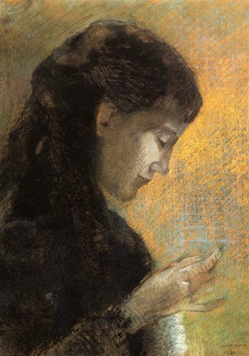 Portrait of Madame Redon Embroidering | Odilon Redon | oil painting