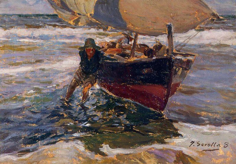 Beaching the Boat | Joaquin Sorolla y Bastida | oil painting