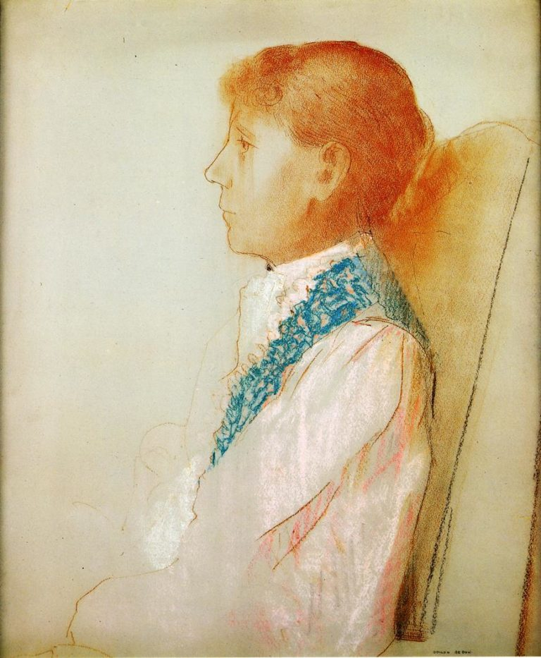 Portrait of Madame Redon in Profile | Odilon Redon | oil painting
