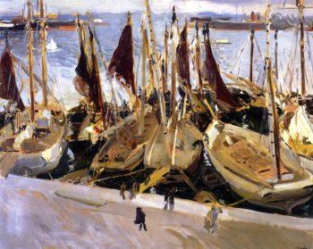 Boats in the Port Valencia | Joaquin Sorolla y Bastida | oil painting