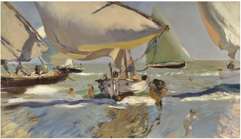 Boats on the beach | Joaquin Sorolla y Bastida | oil painting
