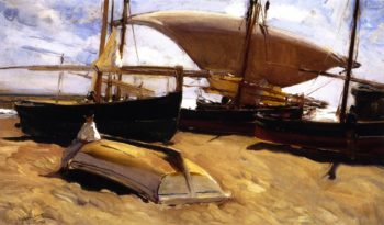Boats on the Sand Valencia | Joaquin Sorolla y Bastida | oil painting