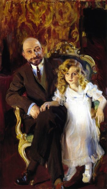 Carlos Urcola Ibarra and His Daughter | Joaquin Sorolla y Bastida | oil painting