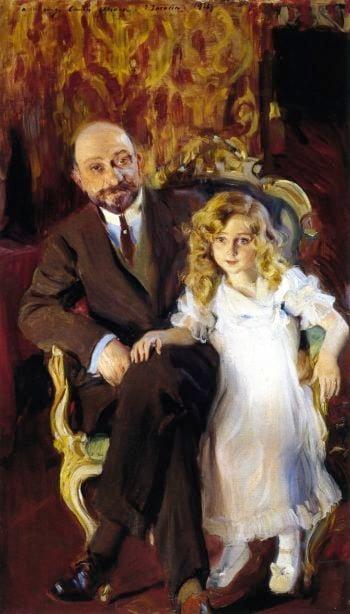 Carlos Urcola Ibarra and His Daughter | Joaquin Sorolla y Bastida | oil painting