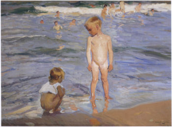 Children bathing in the afternoon sun | Joaquin Sorolla y Bastida | oil painting