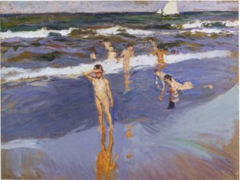 Children in the Sea Valencia Beach | Joaquin Sorolla y Bastida | oil painting
