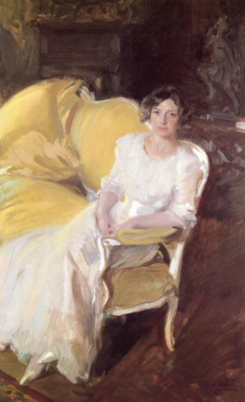 Clotilde Sitting on the Sofa | Joaquin Sorolla y Bastida | oil painting