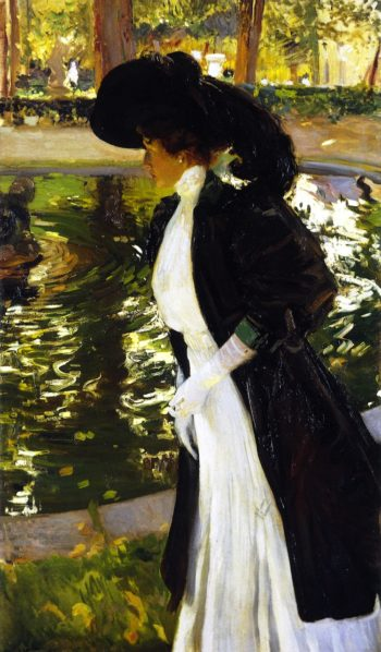 Clotilde Strolling in the Gardens of La Granja | Joaquin Sorolla y Bastida | oil painting
