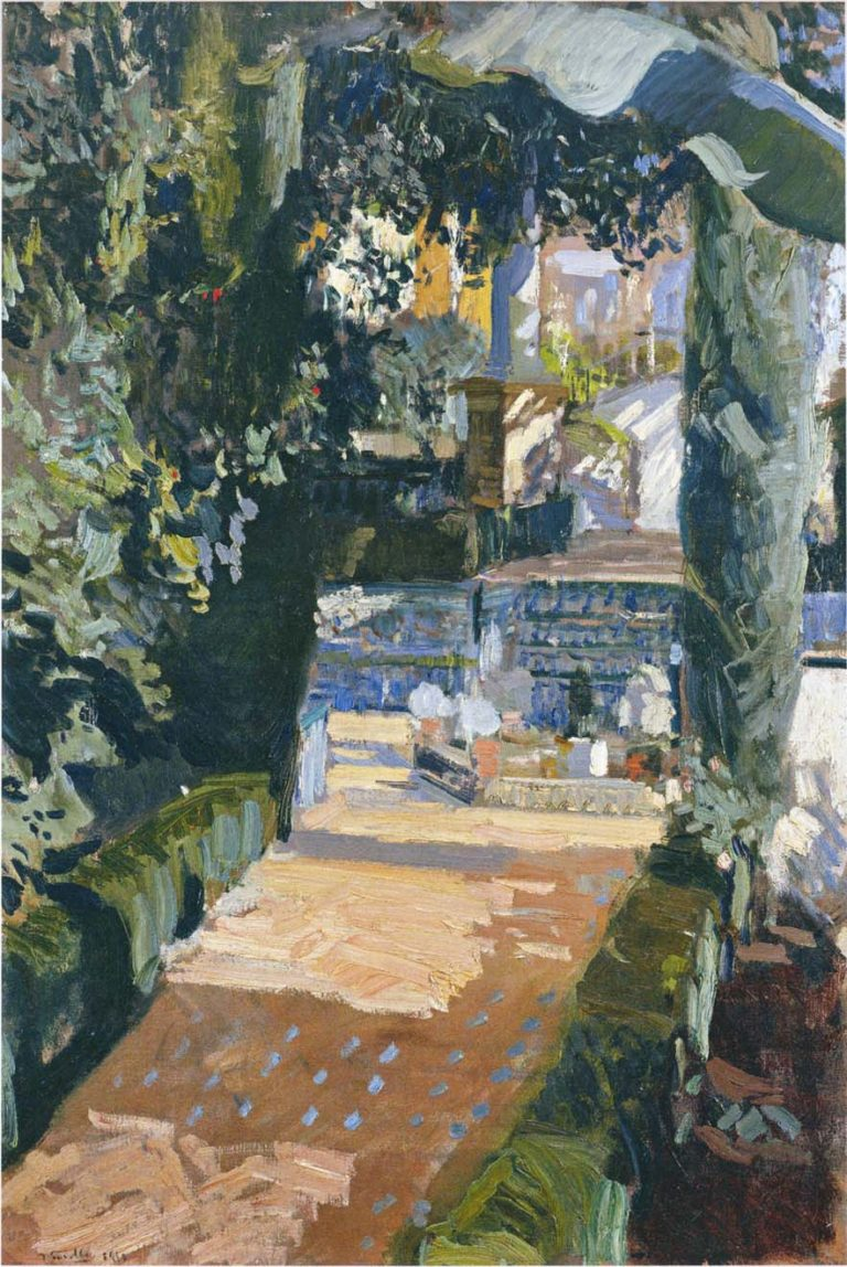 Courtyard of the Dances Alcazar of Sevilla | Joaquin Sorolla y Bastida | oil painting