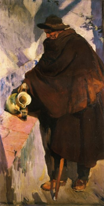 Elderly Castellano Pouring Wine | Joaquin Sorolla y Bastida | oil painting