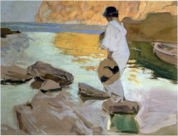 Elena in cove San Vicente at Majorca | Joaquin Sorolla y Bastida | oil painting