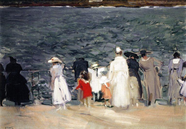 Figures on the Breakwater San Sebastian   Joaquin Sorolla y Bastida   oil painting