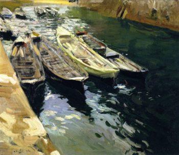 Fishing Boats Port of Zarauz | Joaquin Sorolla y Bastida | oil painting