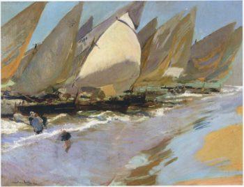 Fishing Boats | Joaquin Sorolla y Bastida | oil painting